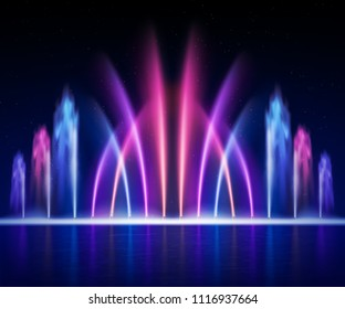 Large multi colored decorative dancing water jet led light fountain show at night realistic image vector illustration