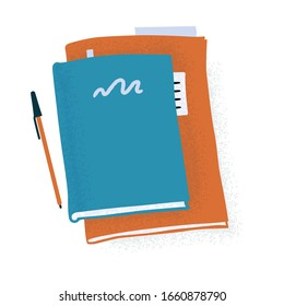 Large notebook, standard planner, reading book and pen, writing therapy, morning pages, daily reports concept, flat cartoon vector illustration isolated on white background. Book, notebook and pen
