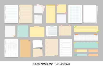 large notes and paper design element vector scrapbook