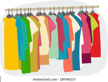 a large number of colorful clothes on hangers