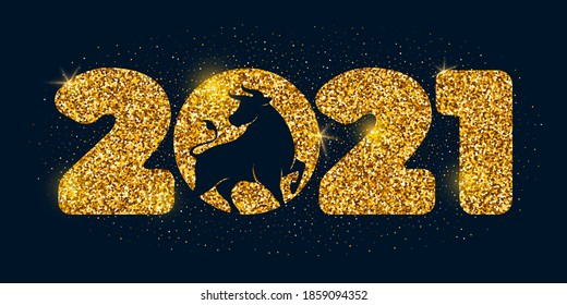 Large numbers 2021 with golden glitters and silhouette of the ox, symbol and mascot of the new year on the eastern calendar. Christmas and New Year festive luxury design on dark background. Vector.