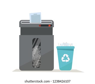 Large office floor shredder full of cut paper and a basket for recycling paper waste on white background. Recycle bin with sign of recycling. Flat cartoon vector illustration.