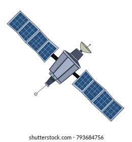 A large outer space satellite with cells over a white background