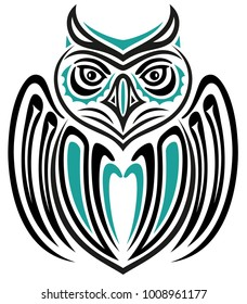 Large owl with wings in Haida Tattoo Style.