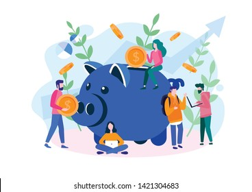 Large piggy bank with business people and golden coin. Financial services, small bankers are engaged in work,  saving or save money or open a bank deposit. Vector illustration for web, social media.