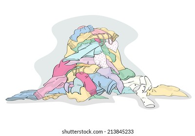 Large Pile of Laundry clothing ready to be cleaned