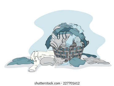 Large Pile of Laundry clothing ready to be cleaned in Blue - vector grouped and layered