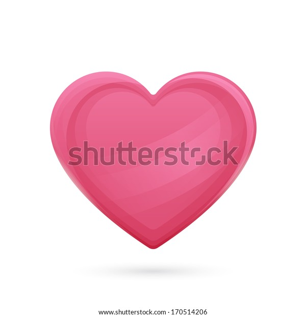 large pink heart with highlights and shadows below on a white background