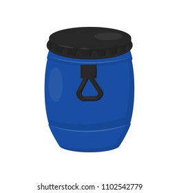Large plastic barrel for water. Blue container with black lid and handle. Flat vector design for poster or banner
