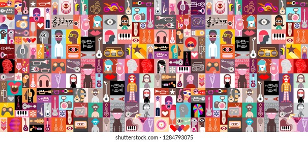 Large pop art vector design with many various people portraits, musical instruments, cocktails and random objects. Seamless background.
