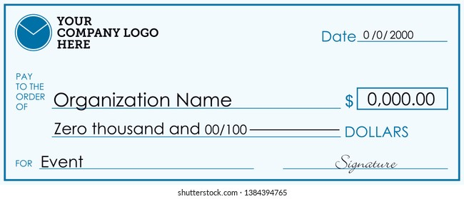 Large Presentation Check Template, Giant Check for Charitable Events, 24 inch  x 60 inch Print Ready Layout, Vector Donation Sign, Corporate Giving to Charity, Foundation Signage, Business Donors