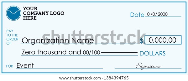 Large Presentation Check Template Giant Check Stock Vector