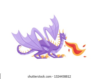 Large purple dragon breathing hot fire, side view. Mythical creature with big wings and long tail. Flat vector design