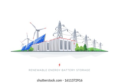 Large rechargeable battery energy storage with renewable electric power generation. Backup system with solar panels, wind turbines, high voltage electricity power transmission on white background.