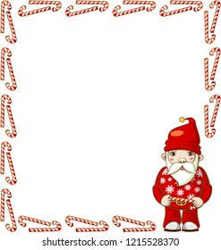 Large rectangular frame of candy canes with Santa Claus. Vector.
