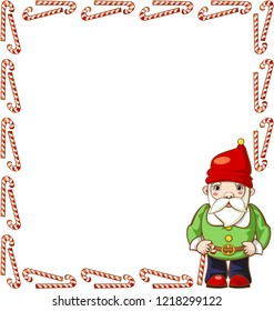 Large rectangular frame of candy canes with Christmas gnome. Vector.