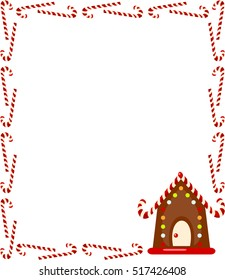 Large rectangular frame of candy canes with gingerbread house. Vector.