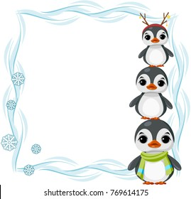 Large rectangular frame winter with snow, snowflakes and penguin. Vector.