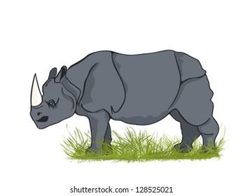 Large rhinoceros bull in the grass, cartoon art