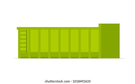 Large roll on off skip. Vector image isolated on white background