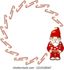 Large round frame of candy canes with Santa Claus. Vector.