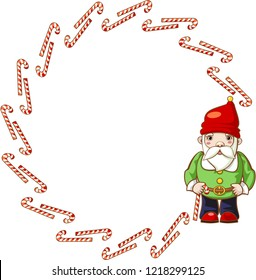 Large round frame of candy caneswith Christmas gnome. Vector.
