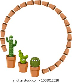 Large round frame with funny cactus in pots. Vector.