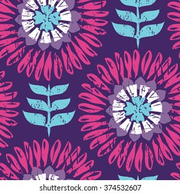 Large Scale Modern Scandi Daisy Floral Seamless Repeat Wallpaper - Purple, Pink and Blue
