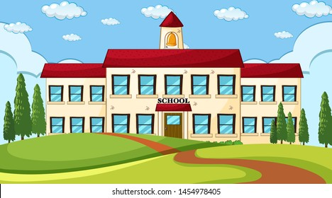 Large school building scene illustration