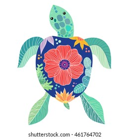 Large sea turtle with a decorative floral pattern, vector illustration