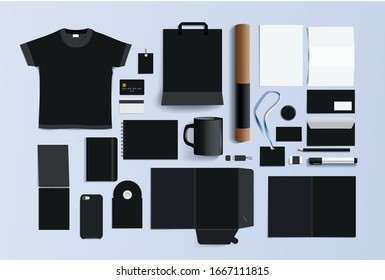 A large selection of branding items. Dark or black color of items such as a T-shirt, folder, report, notebook, pen, pencil, envelope, package. For a funeral home
