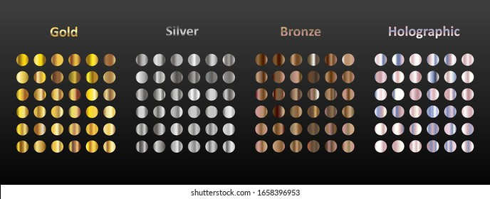 A large set of 144 round metal gradients. Gold, silver, bronze and holographic metal on a black background. Collection of sparkles for birthday, holiday and new year.