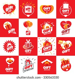 a large set of abstract vector logos boxes with gifts