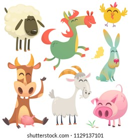 A large set of animals and birds with a farm in a cartoon style. Flat vector illustration isolated on white background. Cow, horse, chicken, bunny rabbit, pig, goat and sheep