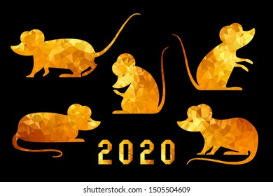 A large set of Asian golden rats in various poses. The Chinese rat is a symbol of 2020. Festive elements for the New Year calendars and design in a seductive semi-focal style of triangles and polygons