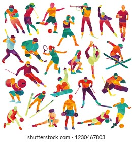 Large set with athletes. Sport, winter sport. Hockey, biathlon, snowboarding, skating, ice skiing, figure, freestyle, football, basketball, soccer, golf, tennis, running. Vector illustration
