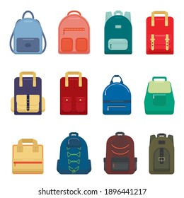 Large set of backpacks isolated on white background. Colorful, multi-colored sports, tourist and women's backpacks of various shapes. Cartoon style. Vector illustration in flat style