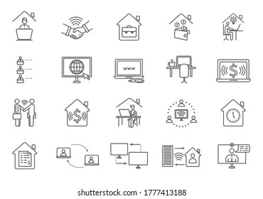 Large set of black and white online worker icons showing workers using digital devices and computers, business and financial, line drawn vector illustrations