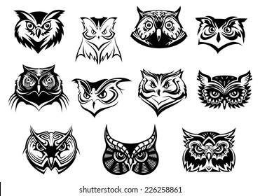 Large set of black and white vector owl bird heads showing different species and plumage, vector isolated on white, logo idea