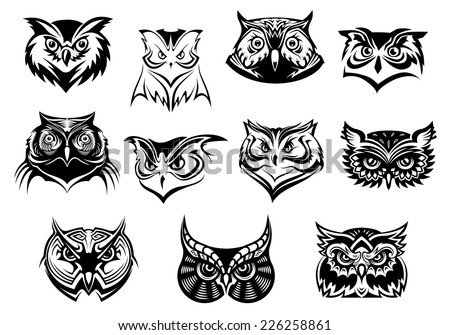 Large Set Black White Vector Owl Stock Vector Royalty Free
