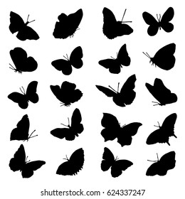 A large set of butterfly silhouettes in black. Illustration of handmade paint