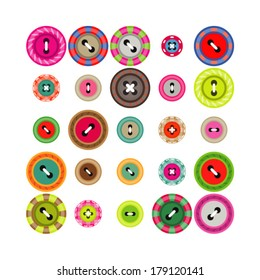 A large set of buttons in different colors and designs