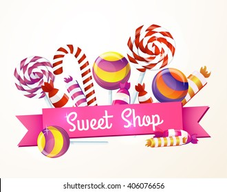 A large set of candies, sweets, greeting, logo, store, package.