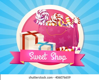 A large set of candies, sweets, greeting, logo, store, package. Box of chocolates, gifts for the holiday.