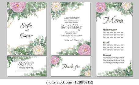 A large set of cards for your wedding. Invitation card, thanks, rsvp, menu. Pink and white roses, buds, lavender, eucalyptus, green plants and flowers.