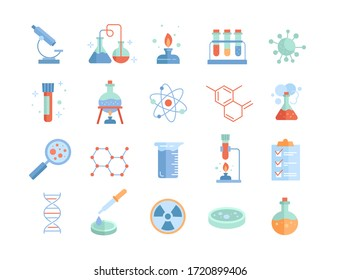 Large set of Chemistry lab and diagrammatic icons showing assorted experiments, glassware and molecules isolated on white for design elements, colored vector illustration