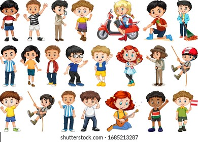 Large set of children doing different activities  illustration