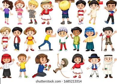 Große Anzahl von Kindern, die verschiedene Aktivitäten anbieten Illustration