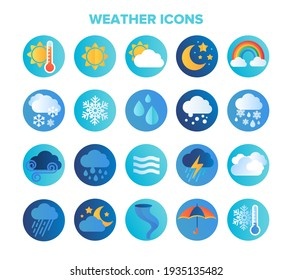 Large set of circular blue weather or meteorological icons or stickers with seasons, sun, rain, clouds, cyclone, winter freeze, lightning and wind isolated on white , flat colored vector illustration
