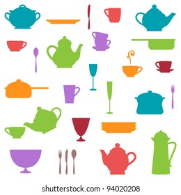 Large Set of Colorful Kitchen Silhouettes
